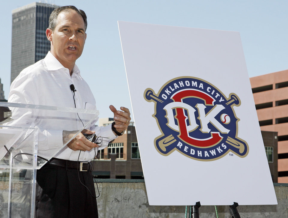 Photo - Scott Pruitt talks about the team name change and new logo during the announcement of the RedHawks change from the Oklahoma RedHawks to the Oklahoma City RedHawks at the AT&T Bricktown Ballpark in Oklahoma City, Monday, September 15, 2008.  BY NATE BILLINGS, THE OKLAHOMAN ORG XMIT: KOD