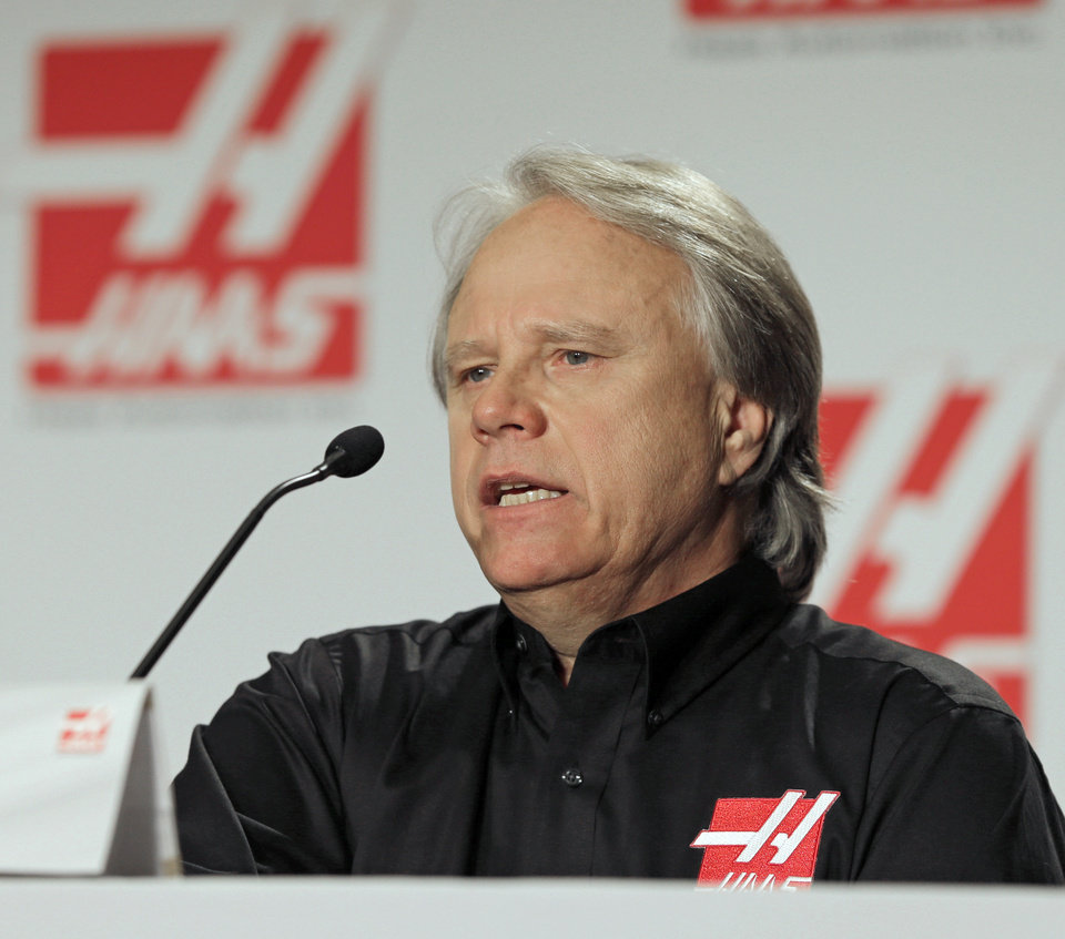 Gene Haas, the founder of Haas Automation, answers a question during a news conference about forming a Formula One auto racing team in Concord, N.C., Monday, April 14, 2014. (AP Photo/Chuck Burton)