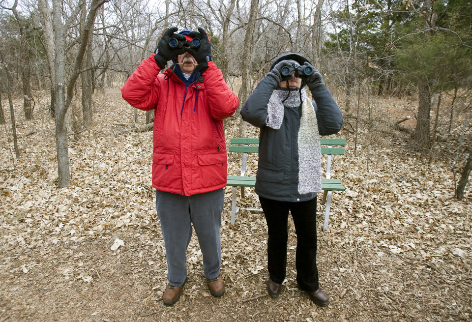 Terry and Ellen King look for birds during the Christmas Bird Count at Martin Park Nature Center, Saturday, Dec. 20, 2008, in Oklahoma City. PHOTO BY SARAH PHIPPS, THE OKLAHOMAN