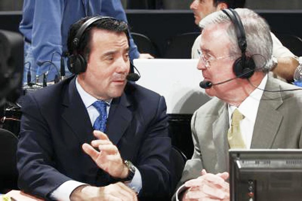 Photo - Fran Fraschilla, left, and Ron Franklin will call the All-College Classic on Monday night on ESPN2.  PHOTO PROVIDED