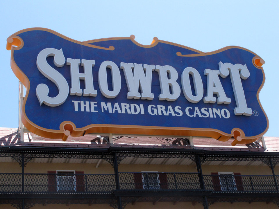 Photo - The Showboat Casino Hotel in Atlantic City N.J. is seen here on Friday June 27, 2014, hours after its parent company, Caesars Entertainment, announced it would shut down the Showboat on Aug. 31. It will be the second Atlantic City to close this year, along with The Atlantic Club, and a third may shut down as well if Revel Casino Hotel can't find a buyer in bankruptcy court. (AP Photo/Wayne Parry)