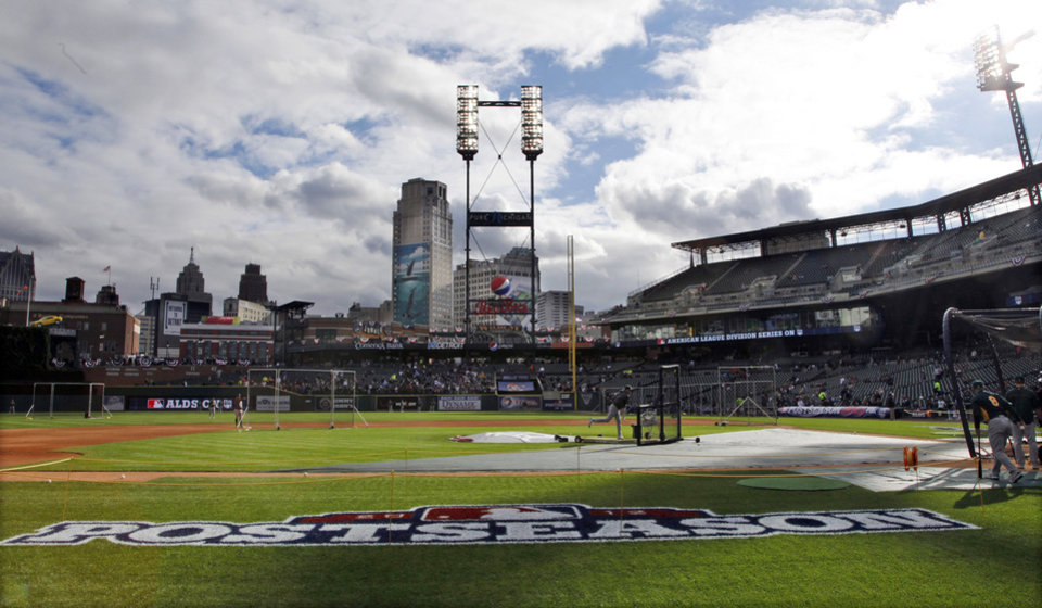 The Oakland Athletics take batting practice before Game 1 of the American League division baseball series against the Detroit Tigers, Saturday, Oct. 6, 2012, in Detroit. (AP Photo/Paul Sancya)