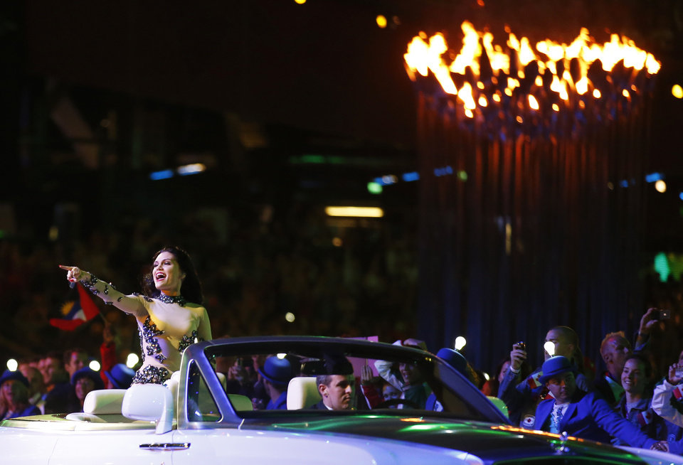 Photo -   British singer Jessie J performs during the Closing Ceremony at the 2012 Summer Olympics, Sunday, Aug. 12, 2012, in London. (AP Photo/Jae C. Hong)