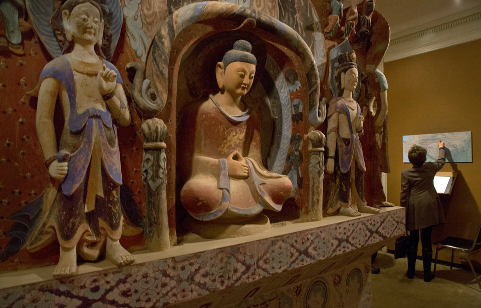 Photo - The central pillar of Mogao Cave 432, from the Western Wei Dynasty, 535-556 AD, is presented in