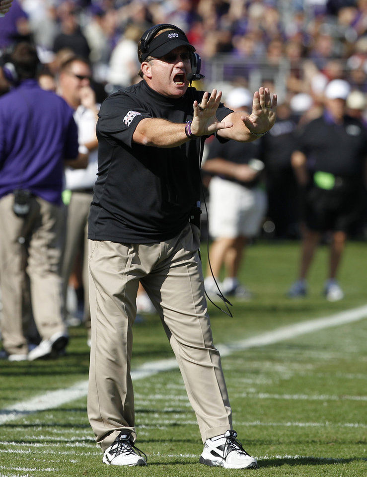TCU head coach Gary Patterson instructs his team in the first half of an NCAA college football game against Oklahoma, Saturday, Dec. 1, 2012, in Fort Worth, Texas. (AP Photo/Tony Gutierrez)