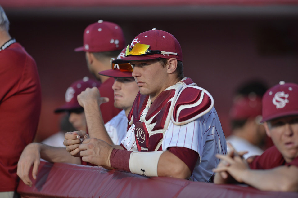 Photo - South Carolina catcher Grayson Greiner watches the action during an NCAA college baseball regional tournament game against Maryland in Columbia, S.C.,  Sunday, June 1, 2014.  Maryland won 10-1. (AP Photo/ Richard Shiro)