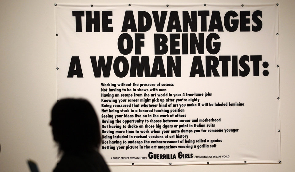Photo -   In this photo taken Tuesday, Oct. 9, 2012, a Guerrilla Girls poster is seen as part of one of two new exhibits featuring art exclusively by women at the Seattle Art Museum, in Seattle. Included in the exhibition is the only U.S. stop for an exhibit from the Pompidou Center in Paris, home of the modern art museum there, of painting, sculpture, drawing, photography and video. The exhibit runs through Jan. 13, 2013. (AP Photo/Elaine Thompson)