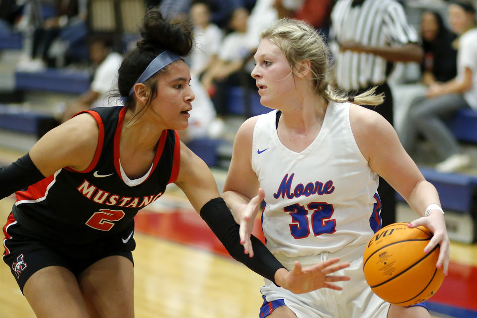 Photo - Moore's Peyton Andrews tries to get past Mustang's Aliyah Rollins during a girls high school basketball game between Moore and Mustang in Moore, Okla., Friday, Feb. 7, 2020. [Bryan Terry/The Oklahoman]