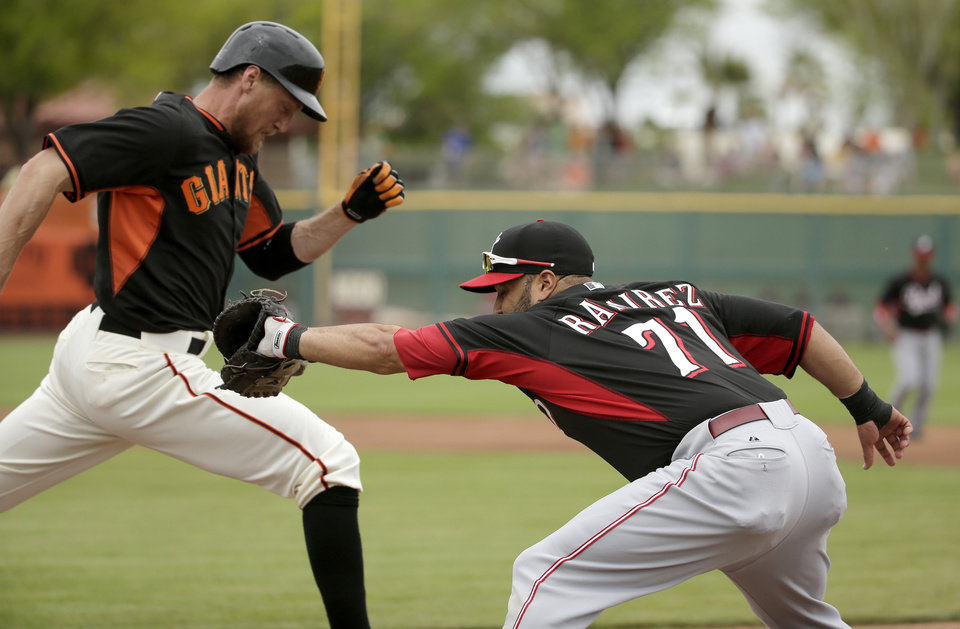 Photo - Cincinnati Reds first baseman Max Ramirez, right, forces San Francisco Giants first baseman Brandon Belt out at first during the first inning of a spring training baseball game in Scottsdale, Ariz., Thursday, March 6, 2014. (AP Photo/Chris Carlson)