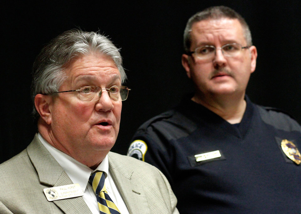 Putnam City Schools Superintendent Paul Hurst , left, and Campus Police Chief Mark Stout revealed additional information about the arrest of a Spanish teacher last Thursday at Putnam City High School. According to Chief Stout, the teacher, Lisa Kays, 46, is accused of having a sexual relationship with one of her male students on several occasions on school grounds and at least two other times away from the campus. Officials discussed these incidents with the media at the district\'s administration office Tuesday afternoon, Feb. 14, 2012. Photo by Jim Beckel, The Oklahoman