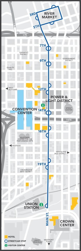 Photo -  The Kansas City Streetcar is free and runs on a dual track as shown in this map. [Courtesy Visit KC]
