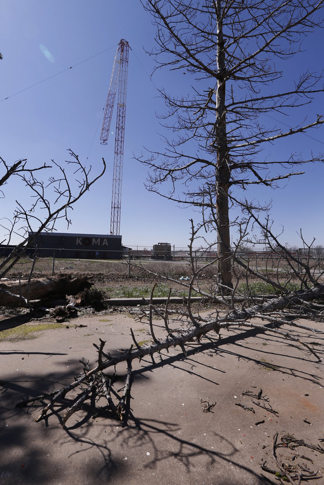 Photo - Damage to KOMA, KOKC radio transmission antennas is shown from wednesday's tornadoes on Thursday, March 26, 2015 in Moore, Okla. Photo by Steve Sisney, The Oklahoman