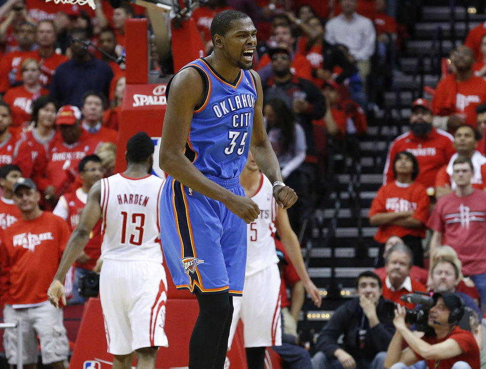 Oklahoma City's Kevin Durant (35) reacts during Game 6 in the first round of the NBA playoffs between the Oklahoma City Thunder and the Houston Rockets at the Toyota Center in Houston, Texas, Friday, May 3, 2013. Oklahoma City won 103-94. Photo by Bryan Terry, The Oklahoman