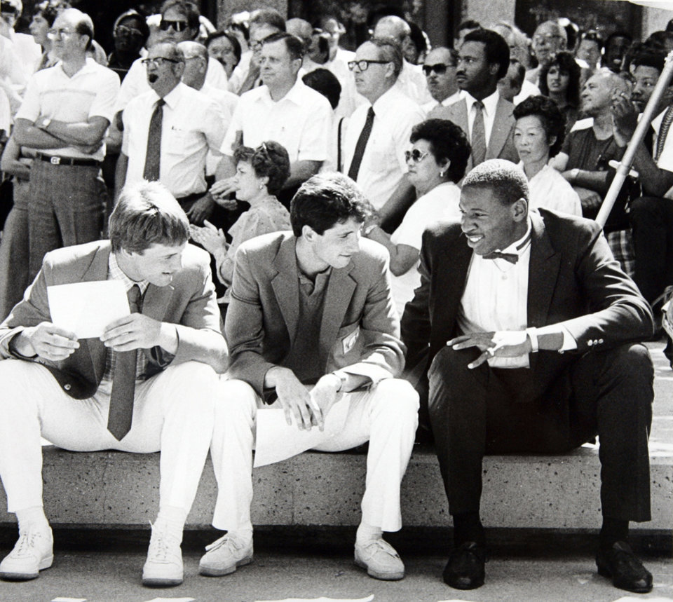 Former OU basketball player Wayman Tisdale. Bobby Witt, Gary Green (baseball) and Wayman Tisdale. Photo taken 9/6/1984, Photo published unknown. Staff photo by Paul S. Howell ORG XMIT: KOD