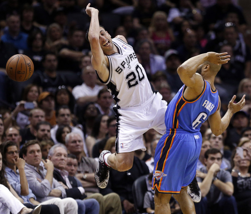 Photo - San Antonio's Manu Ginobili (20) is fouled by Oklahoma City's Derek Fisher (6) during Game 5 of the Western Conference Finals in the NBA playoffs between the Oklahoma City Thunder and the San Antonio Spurs at the AT&T Center in San Antonio, Thursday, May 29, 2014. Photo by Sarah Phipps, The Oklahoman