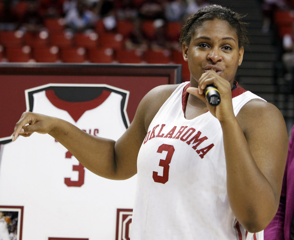 Photo - OU's Courtney Paris (3) speaks as part of senior night after the women's college basketball game between Texas Tech and the University of Oklahoma at the Lloyd Noble Center in Norman, Okla., Wednesday, March 4, 2009. OU won, 61-49. BY NATE BILLINGS, THE OKLAHOMAN ORG XMIT: KOD