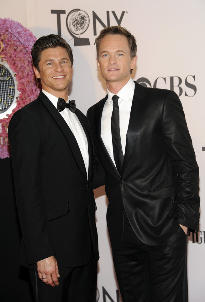 Photo -   Host Neil Patrick Harris, right, and David Burtka arrive at the 66th Annual Tony Awards on Sunday June 10, 2012, in New York. (Photo by Evan Agostini /Invision/AP)