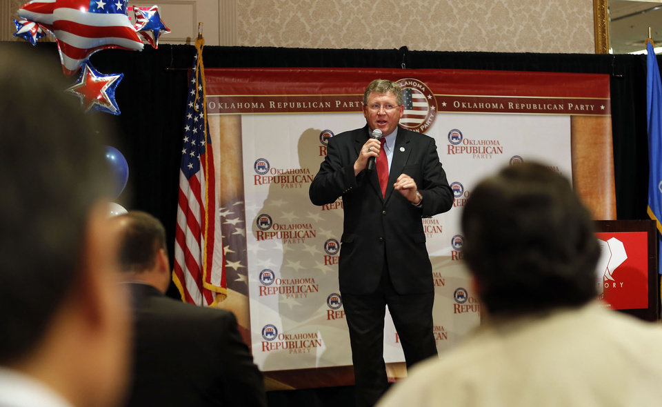 U.S. Rep. Frank Lucas speaks during the Oklahoma Republican watch party in Oklahoma City, Tuesday, Nov. 6, 2012. Photo by Sarah Phipps, The Oklahoman