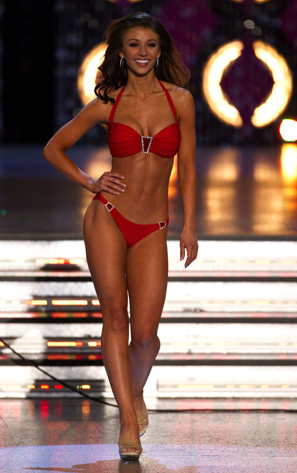 Miss Oklahoma Betty Thompson during the 2012 Miss America Pageant Saturday Jan. 14, 2012 at The Planet Hollywood Resort & Casino in Las Vegas. Thompson has reported her crown stolen. (AP Photo/Eric Jamison) ORG XMIT: NVEJ118 Eric Jamison - AP