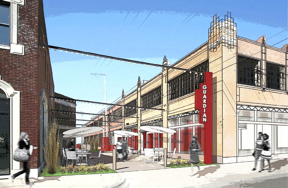 MidTown Renaissance is transforming an alley between the Packard Building and former Guardian Garage into a retail courtyard. Drawing provided by Brian Fitzsimmons