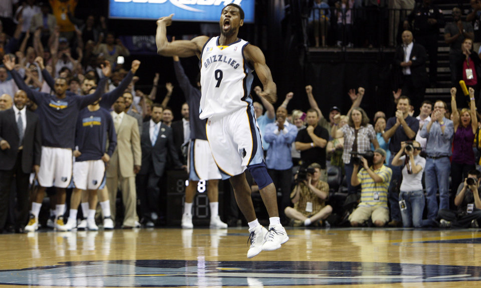 Photo - Memphis Grizzlies guard Tony Allen celebrates their 101-96 win over the Sacramento Kings in an NBA basketball game Friday, April 08, 2011, in Memphis, Tenn. The Grizzlies clinched the Western Conference's final playoff spot with the win (AP Photo/Alan Spearman) ORG XMIT: TNAS106