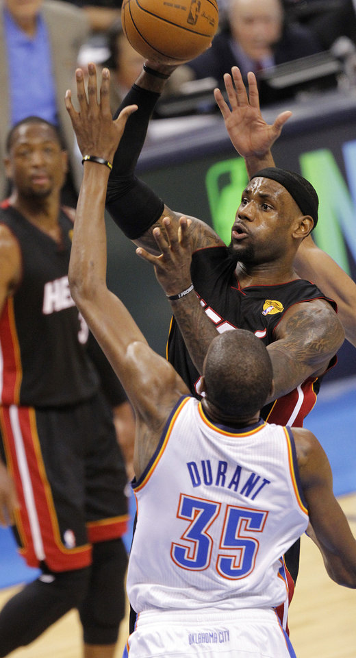 Miami's LeBron James (6) shoots over Oklahoma City's Kevin Durant (35) during Game 2 of the NBA Finals between the Oklahoma City Thunder and the Miami Heat at Chesapeake Energy Arena in Oklahoma City, Thursday, June 14, 2012. Photo by Chris Landsberger, The Oklahoman