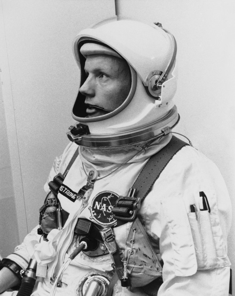 "FILE - In this March 6, 1966 file photo Astronaut Neil Armstrong, pilot for the Gemini VIII mission is shown. The family of Neil Armstrong, the first man to walk on the moon, says he died Saturday, Aug. 25, 2012, at age 82. A statement from the family says he died following complications resulting from cardiovascular procedures. It doesn't say where he died. Armstrong commanded the Apollo 11 spacecraft that landed on the moon July 20, 1969. He radioed back to Earth the historic news of ""one giant leap for mankind."" Armstrong and fellow astronaut Edwin ""Buzz"" Aldrin spent nearly three hours walking on the moon, collecting samples, conducting experiments and taking photographs. In all, 12 Americans walked on the moon from 1969 to 1972. (AP Photo/FILE)"