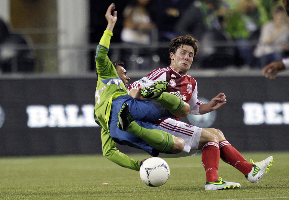 Photo -   Seattle Sounders' Christian Tiffert, left, collides with Portland Timbers' Mike Fucito, right, in the second half of an MLS soccer match, Sunday, Oct. 7, 2012, in Seattle. The Sounders defeated the Timbers 3-0. (AP Photo/Ted S. Warren)