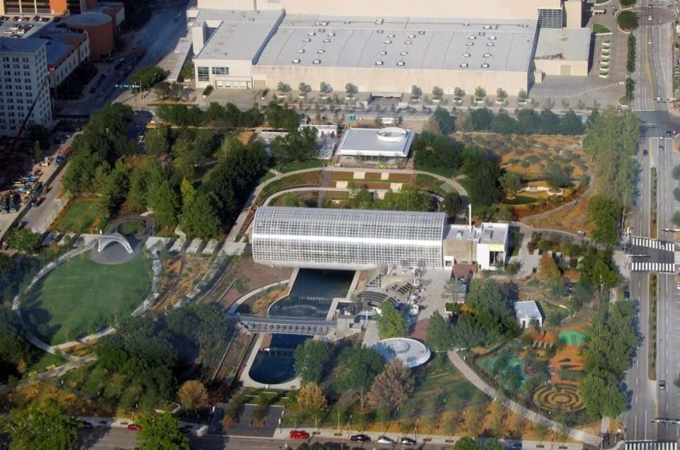 Myriad Gardens underwent a $36 million makeover as part of Project 180, as shown in this aerial photo taken shortly after reopening in October 2011. Photo provided
