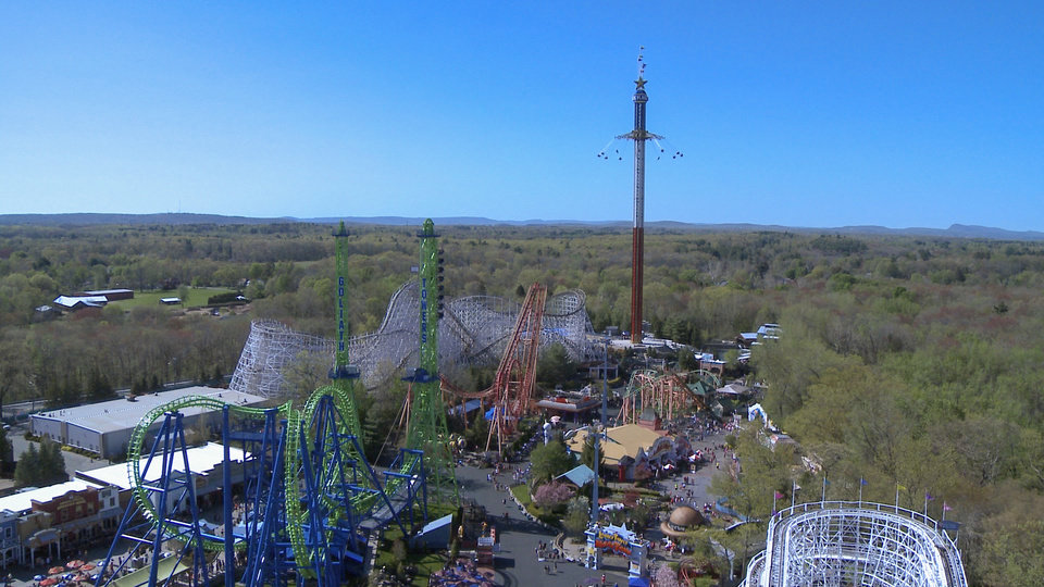 Photo - This undated image released by Six Flags New England shows The New England SkyScreamer, the tallest swing ride at Six Flags New England in Agawam, Mass.  (AP Photo/Six Flags New England)