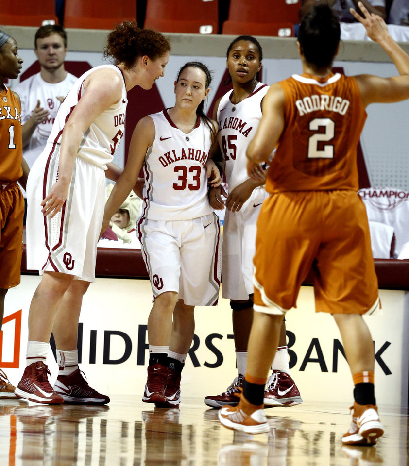 Photo - Oklahoma Sooners' Eden Williams (33) is encouraged by teammate Joanna McFarland (53) in the second half as the University of Oklahoma Sooners (OU) defeat the University of Texas (UT) Longhorns 69-56 in NCAA, women's college basketball at The Lloyd Noble Center on Saturday, Jan. 19, 2013 in Norman, Okla. Photo by Steve Sisney, The Oklahoman