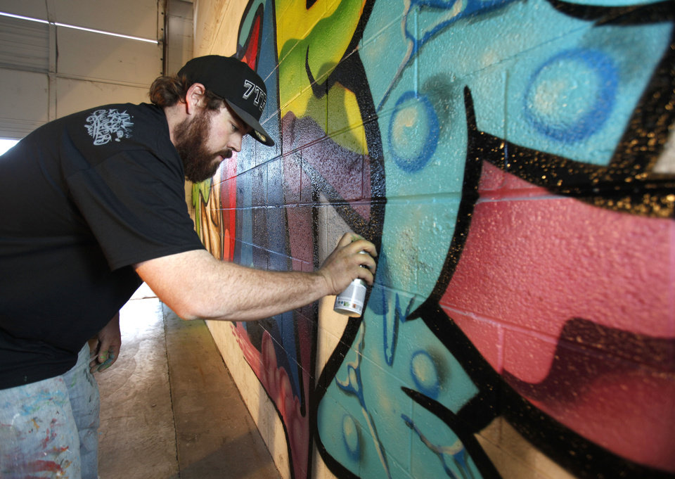 Graffiti artist and muralist Robert Levering creates a mural at 808 Indoor Skatepark in Oklahoma City, OK, Saturday, January 19, 2013,  By Paul Hellstern, The Oklahoman