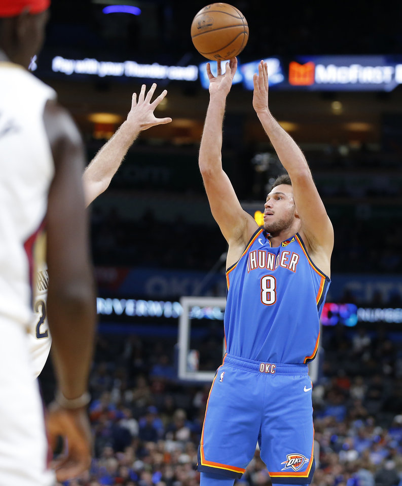 Photo - Oklahoma City's Danilo Gallinari (8) shoots during an NBA basketball game between the Oklahoma City Thunder and the New Orleans Pelicans at Chesapeake Energy Arena in Oklahoma City, Saturday, Nov. 2, 2019. Oklahoma City won 115-104. [Bryan Terry/The Oklahoman]