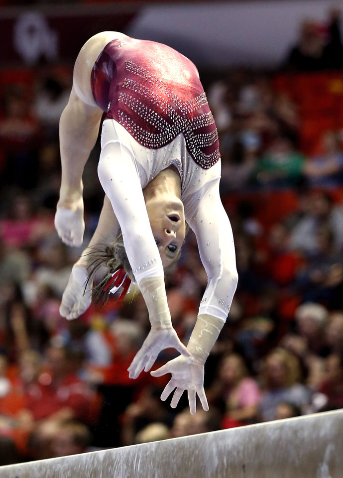 Erica Brewer competes in the balance beam as the University of Oklahoma Sooners (OU) compete at the NCAA, Women\'s Gymnastics Regional at The Lloyd Noble Center on Saturday, April 6, 2013 in Norman, Okla. Photo by Steve Sisney, The Oklahoman