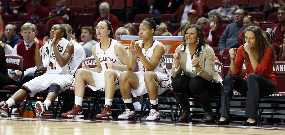 Oklahoma's Jasmine Hartman (45), Nicole Kornet (1) and Portia Durrett (31) watch a Dec. 6 game from the bench.   Photo by Steve Sisney, The Oklahoman