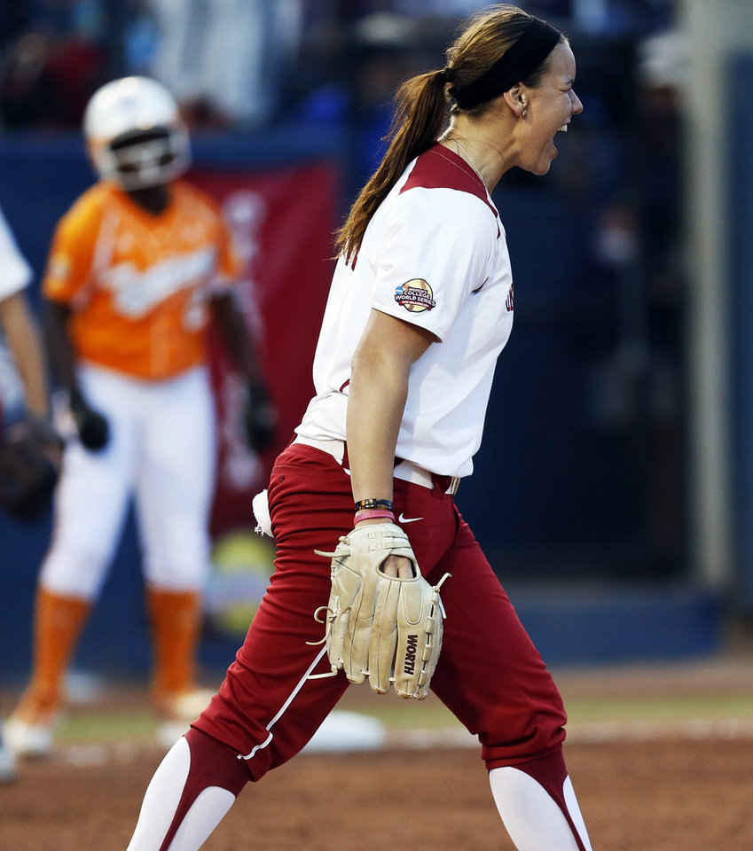 Photo - OU's Keilani Ricketts (10) reacts after a double play during Game 1 of the Women's College World Series NCAA softball championship series between Oklahoma and Tennessee at ASA Hall of Fame Stadium in Oklahoma City, Monday, June 3, 2013. Photo by Nate Billings, The Oklahoman
