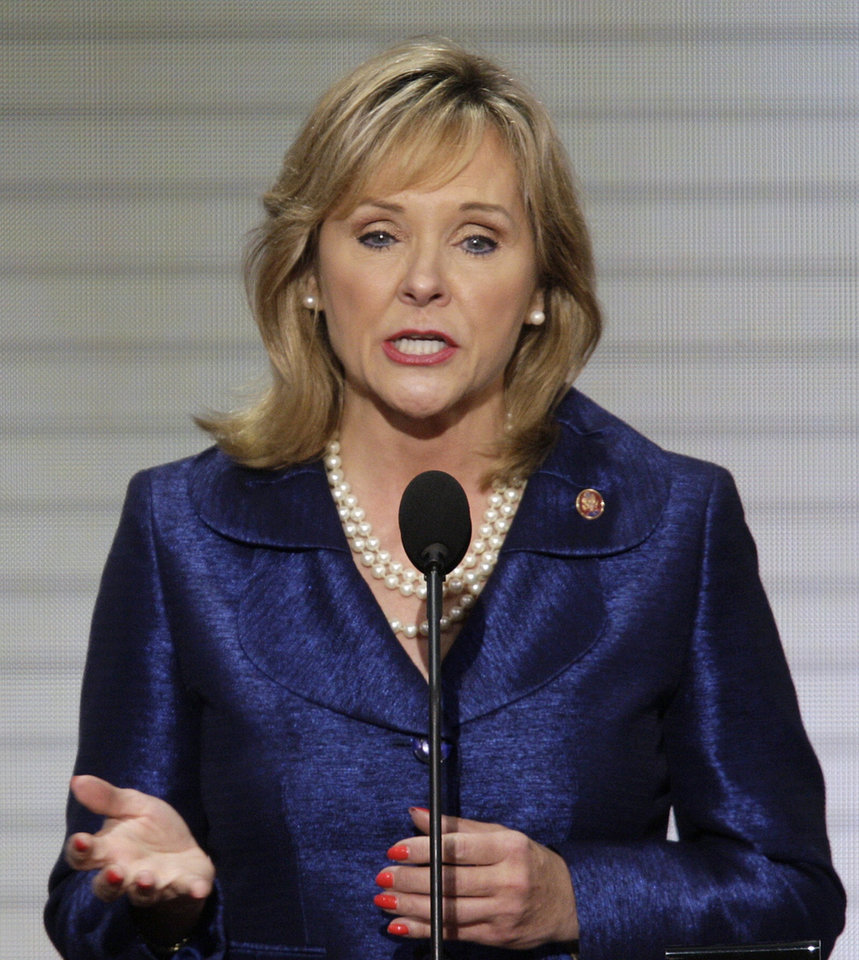 Photo - Rep. Mary Fallin, R-Okla., speaks at the Republican National Convention in St. Paul, Minn., Thursday, Sept. 4, 2008.  (AP Photo/Ron Edmonds) ORG XMIT: MNRG141