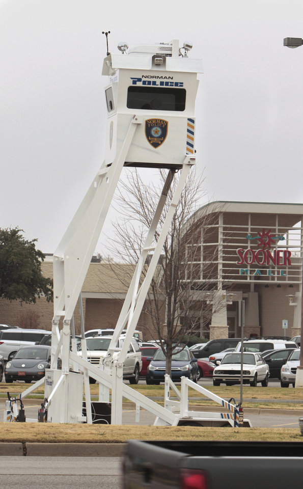 The Norman Police Department's new Skywatch tower is set up in the parking lot for Sooner Mall on Friday, Nov. 25, 2011, in Norman, Okla.  Photo by Steve Sisney, The Oklahoman