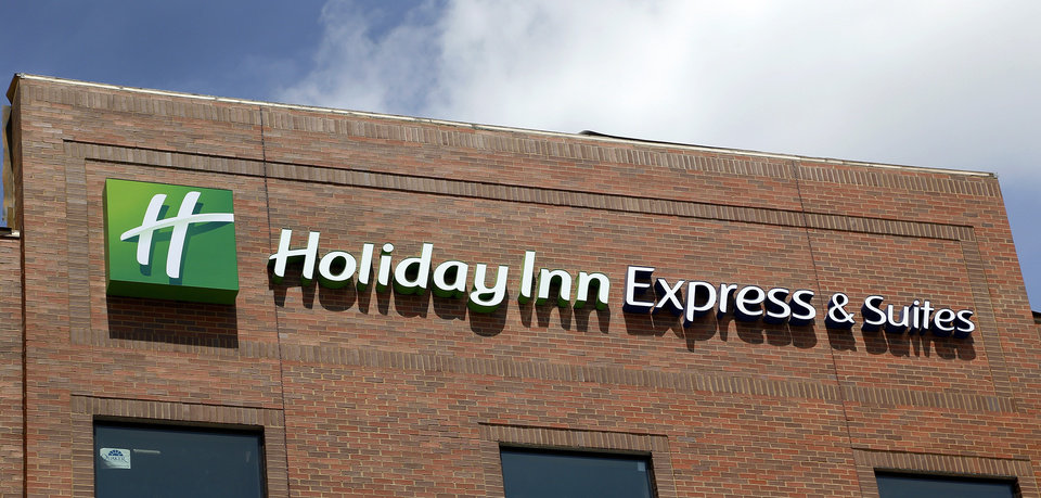 Photo -  The Holiday Inn Express sign is already up at the new Bricktown hotel.    Jim Beckel -  THE OKLAHOMAN