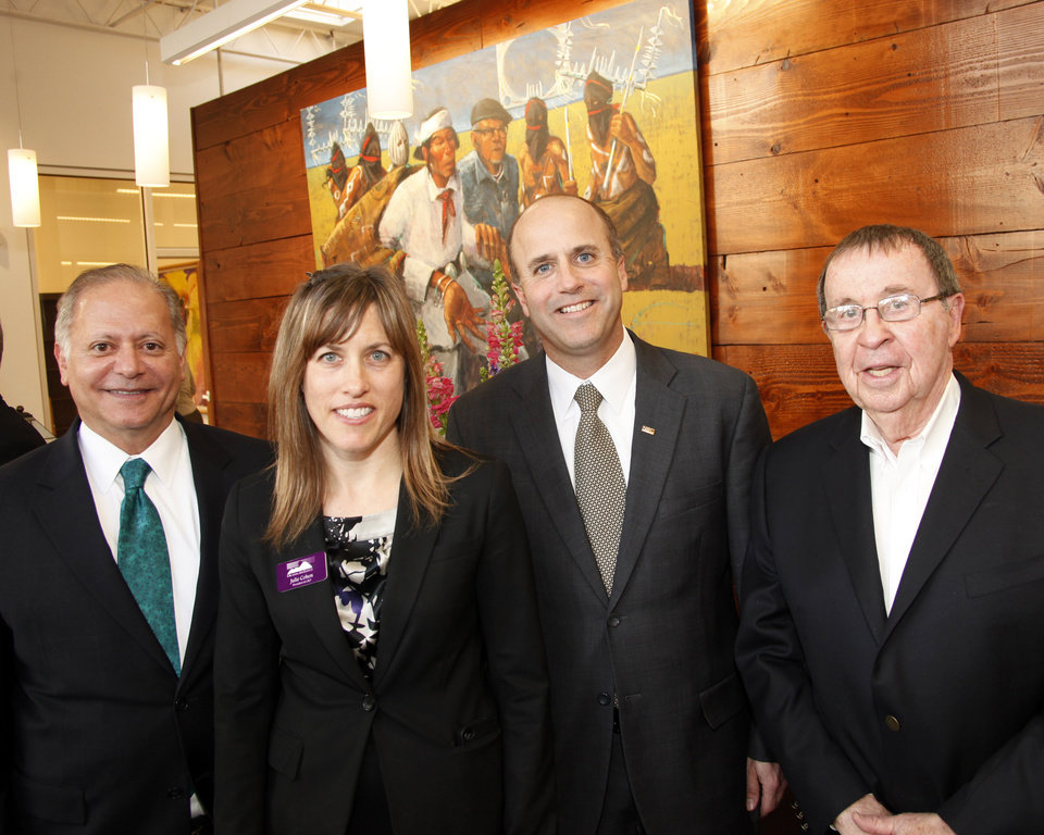 From left: Mike Joseph, Julie Cohen (Pres & CEO), Jeff Greenley and Joe Dan Trigg at the opening reception for the Oklahoma Arts Institute's new administrative offices Wednesday , Feb. 29, 2012. Photo by Doug Hoke, The Oklahoman