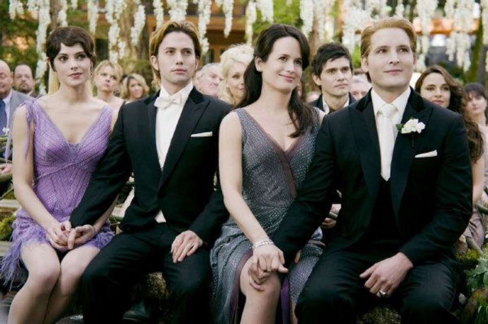"Photo - From left, Ashley Green, Jackson Rathbone, Elizabeth Reaser and Peter Facinelli appear in a scene from ""The Twilight Saga: Breaking Dawn — Part 1."" Summit Entertainment photo"