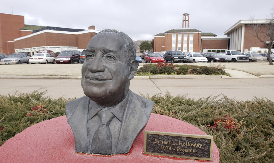 Oklahoma, Monday, 2/9/04. Statue of Langston University president Dr. Ernest Holloway . Holloway died Saturday, Dec. 24, 2011, in Texas. Staff photo by David McDaniel.