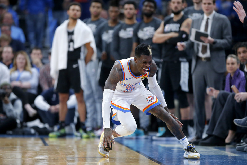 Photo - Oklahoma City's Dennis Schroder (17) shouts after trying to steal the ball during an NBA basketball game between the Oklahoma City Thunder and the San Antonio Spurs at Chesapeake Energy Arena in Oklahoma City, Tuesday, Feb. 11, 2020. [Bryan Terry/The Oklahoman]