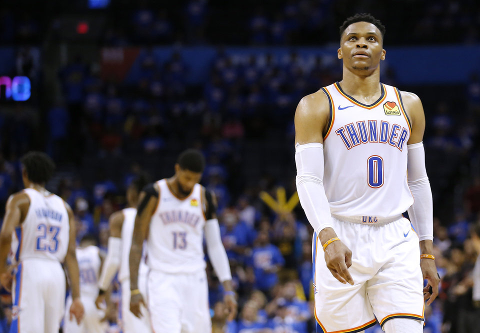 Photo - Oklahoma City's Russell Westbrook (0) walks off the court in the fourth quarter during Game 4 in the first round of the NBA playoffs between the Portland Trail Blazers and the Oklahoma City Thunder at Chesapeake Energy Arena in Oklahoma City, Sunday, April 21, 2019.  Photo by Sarah Phipps, The Oklahoman