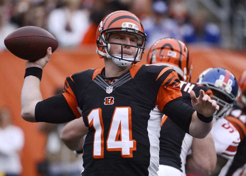 Photo -   Cincinnati Bengals quarterback Andy Dalton (14) passes against the New York Giants in the first half of an NFL football game, Sunday, Nov. 11, 2012, in Cincinnati. (AP Photo/Michael Keating)
