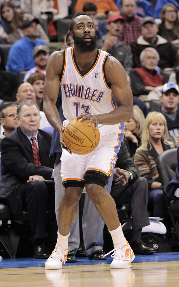 Oklahoma City Thunder's James Harden (13) shoots in the second half as the Oklahoma City Thunder defeat the Orlando Magic 97-89 in NBA basketball at the Chesapeake Energy Arena on Sunday, Dec. 25, 2011, in Oklahoma City, Okla.  Photo by Steve Sisney, The Oklahoman