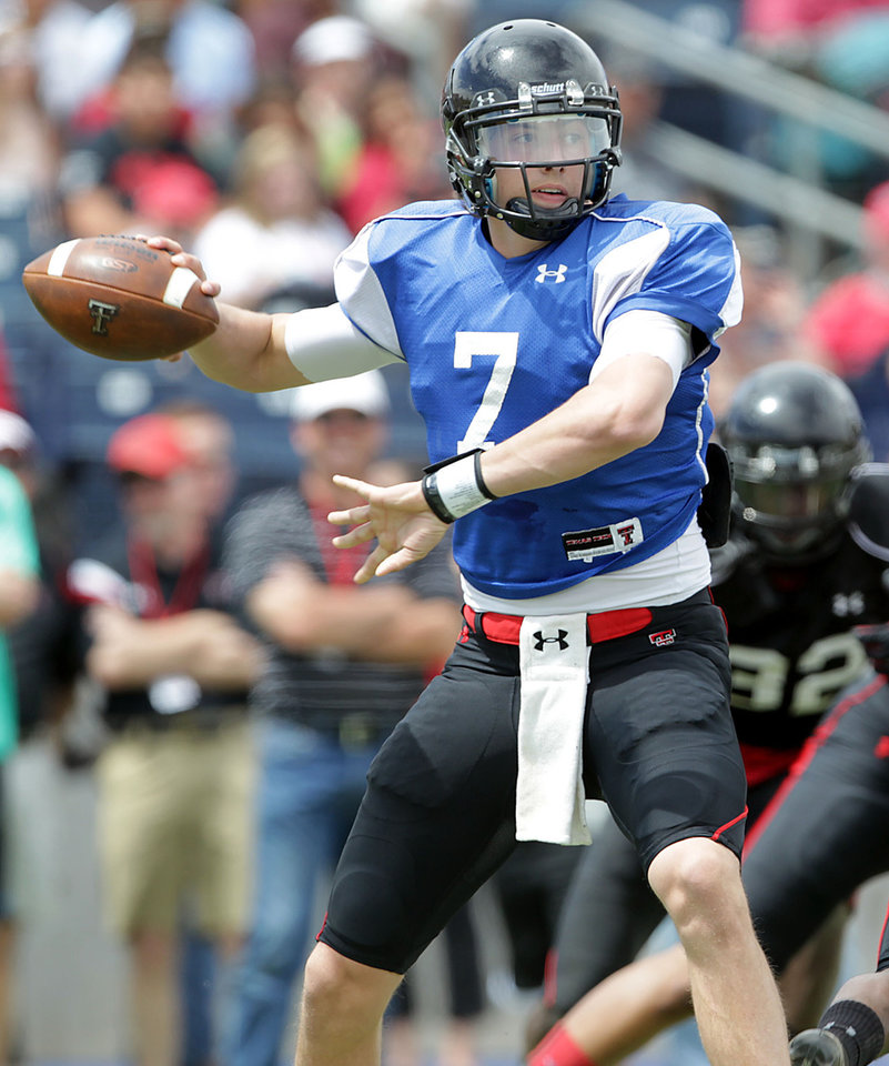 Photo - In this photo from April 6, 2013, Texas Tech's Davis Webb is shown during an NCAA college football scrimmage in Midland, Texas. Webb is locked in a battle to start at quarterback for the Red Raiders. (AP Photo/Lubbock Avalanche-Journal, Stephen Spillman)