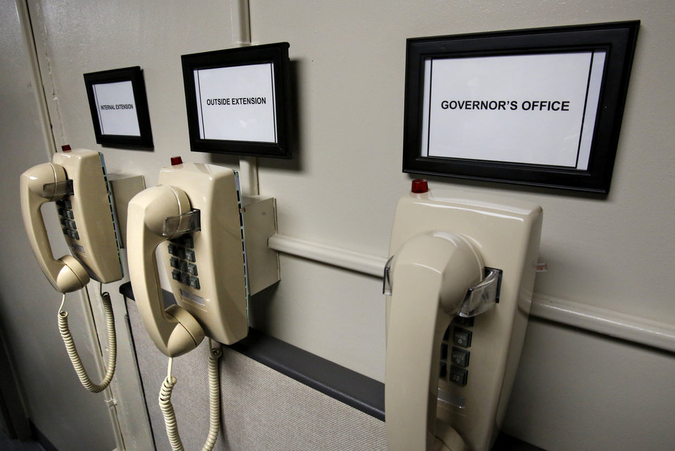 Photo - New phones in the chemical room of the  execution chamber at the Oklahoma State Penitentiary in McAlester, October 9, 2014. Photo by David McDaniel