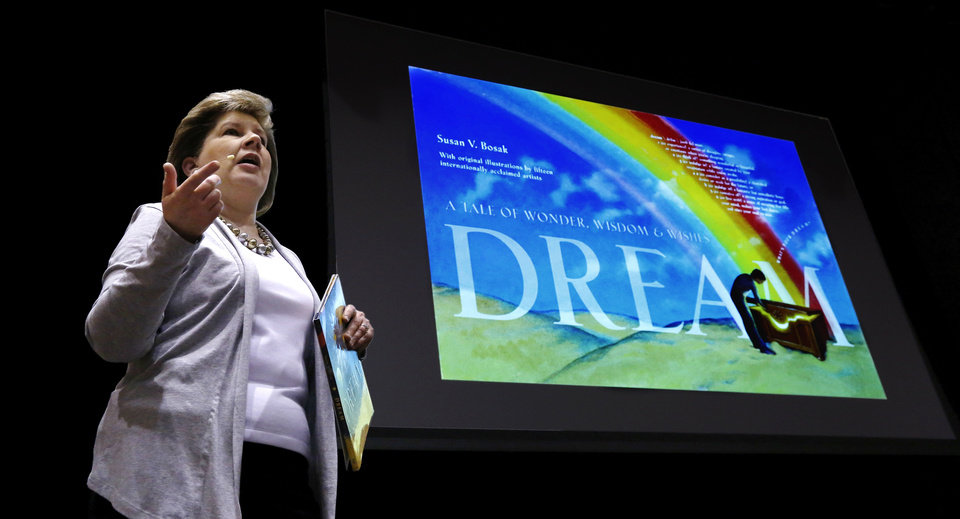 Photo - Author and educator Susan Bosak speaks to students at Centennial Middle School on Tuesday. She encouraged the youths to follow their dreams. PHOTO BY JIM BECKEL, THE OKLAHOMAN  Jim Beckel - THE OKLAHOMAN