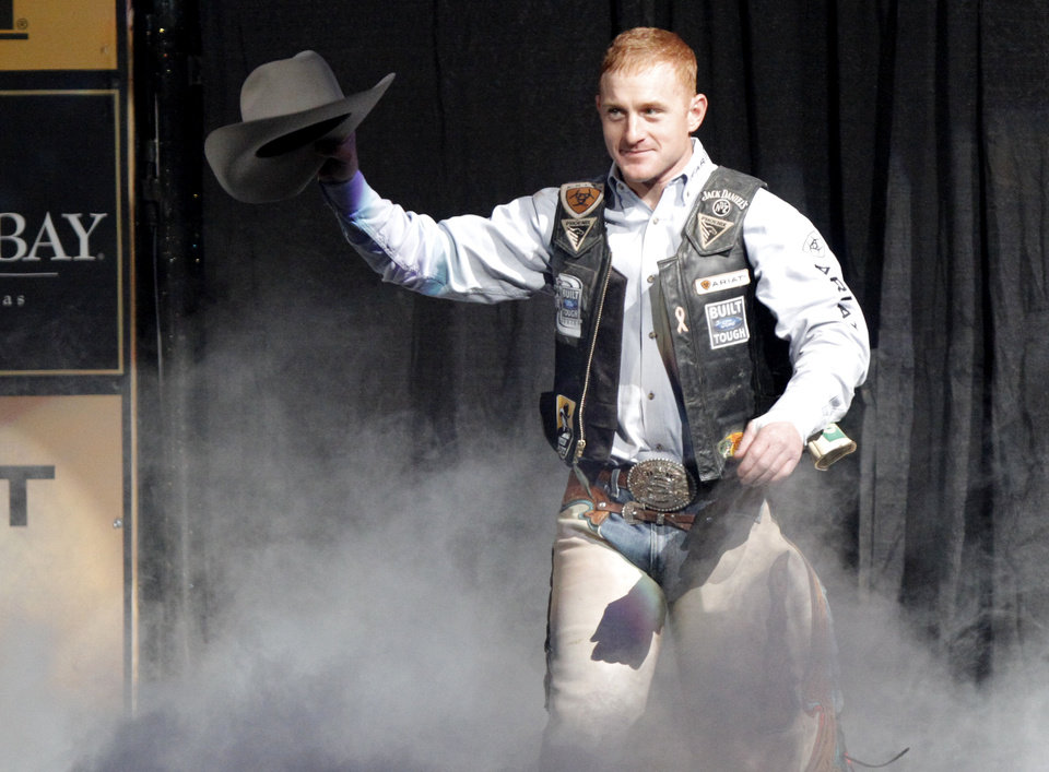 PROFESSIONAL BULL RIDERS: Cord McCoy is introduced before a PBR event at the Oklahoma City Arena, Saturday, Feb. 12, 2011.  Photo by Bryan Terry, The Oklahoman ORG XMIT: KOD